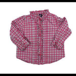 Gap Girls Pink Check Ruffled Shirt, 18-24 M